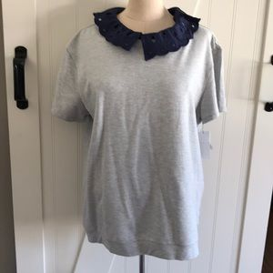 Grey heather top w/ eyelet collar ( removable)